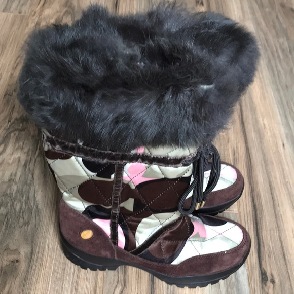 Coach Sasha Multi Brown Signature Fur Snow Boots